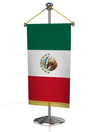 bandera mexicana: La bandera de M�xico la mesa aislada en blanco