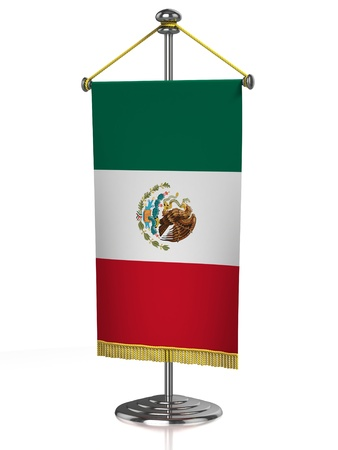 diplomacy: Mexico table flag isolated on white