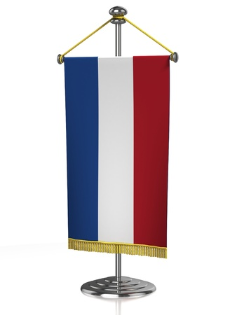 Netherlands table flag isolated on white  photo