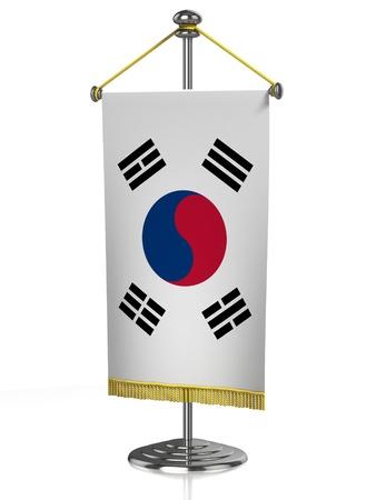 South Korea table flag isolated on white