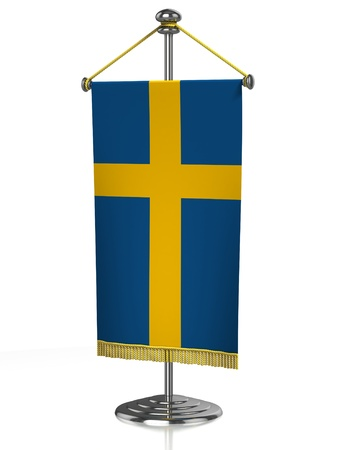 sweden flag: Sweden table flag isolated on white