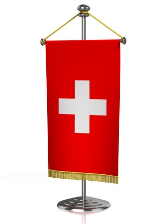 switzerland flag: Switzerland table flag isolated on white  Stock Photo
