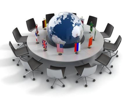 Naciones Unidas, la política global, la diplomacia, la estrategia, el medio ambiente, el liderazgo mundial en 3D concepto de Foto de archivo