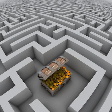 deadlock: treasure chest in labyrinth  Stock Photo