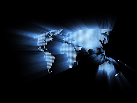 financial world: glowing hi-tech world map 3d illustration