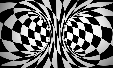 checkers: abstract black and white 3d background Stock Photo