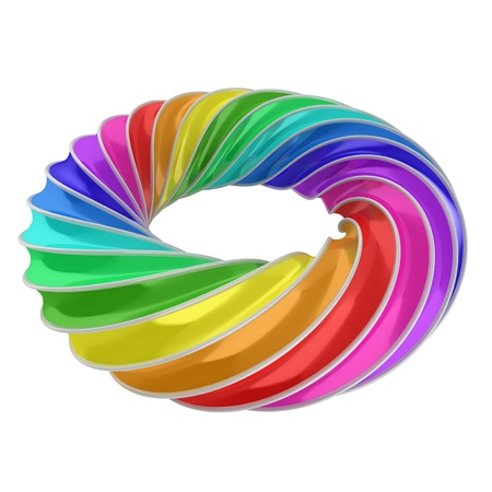 3d abstract shape - rainbow ring Stock Photo - 16573977