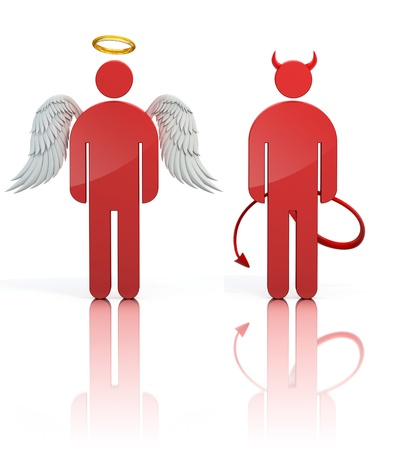 heaven and hell: shoulder angel and devil 3d icons isolated