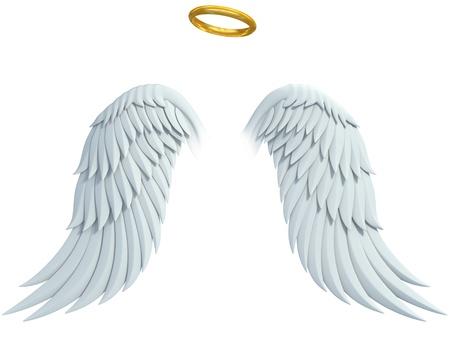 angel design elementen - vleugels en gouden halo geïsoleerd op de witte achtergrond
