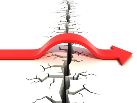 success risk: red arrow passing obstacle - risk and success 3d concept Stock Photo