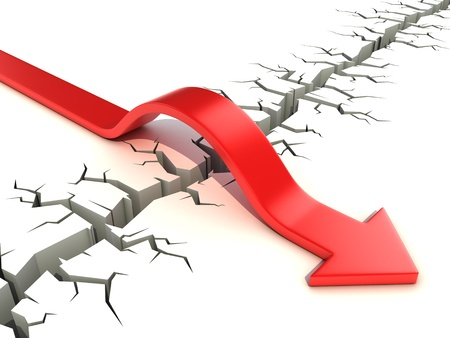 red arrow passing obstacle - risk and success 3d concept Stock Photo - 16584995