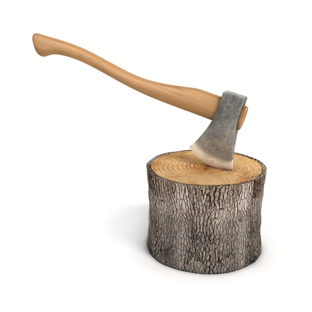 deforestation: axe in a wooden stump - log isolated
