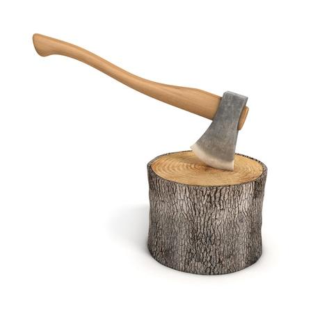 deforestacion: hacha en un tronco de madera - log aislado