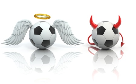 cartoon devil: funny football 3d concept - angel and devil soccer balls Stock Photo