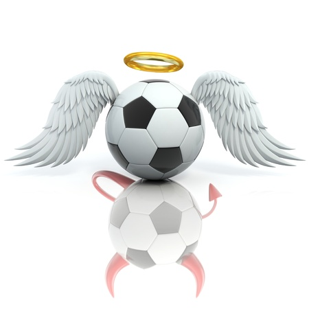 bad angel: funny football 3d concept - angel soccer ball seen as a devil in reflection Stock Photo