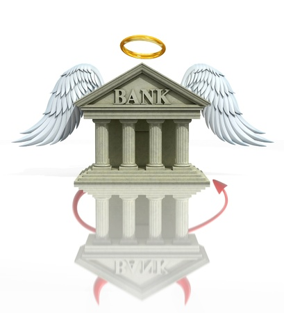 banking problems: banking problems 3d concept - angel bank seen as a devil bank in reflection