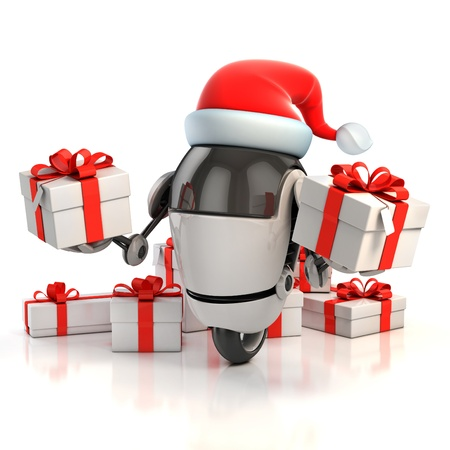 new technologies: robot santa with gift box - christmas 3d concept