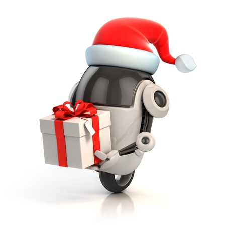 funny robot with santa s hat and gift box - christmas 3d concept Stock Photo - 16584934