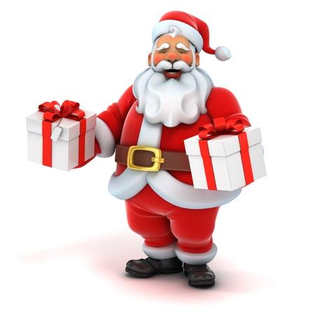 clause: santa claus holding gift box