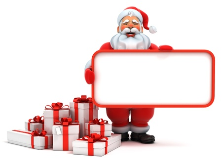 clause: santa claus holding blank board
