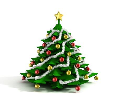 fir tree balls: christmas tree 3d illustration