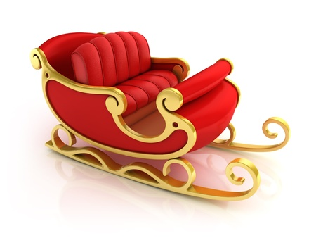 christmas sleigh: Christmas Santa sleigh - red and golden sledge isolated