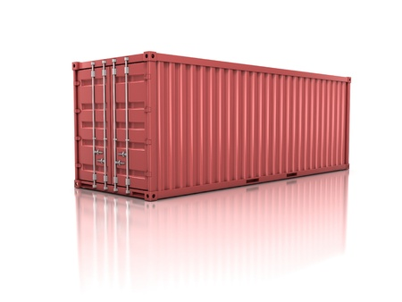ship parcel: container isolated on white