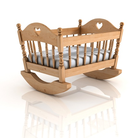 nursery room: cradle 3d illustration isolated on white