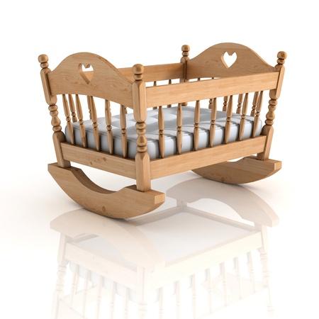 bebe cuna: cuna ilustraci�n 3d aislado en blanco
