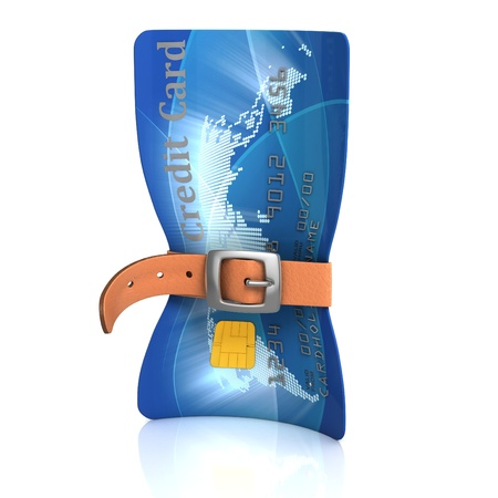 credit risk: credit card with tighten belt