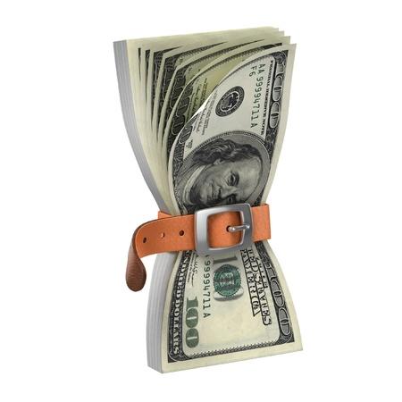 tightening: dollars with tighten belt - financial crisis 3d concept