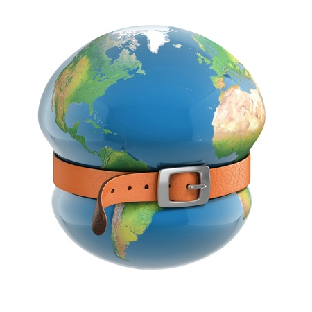 financial globe: planet earth belt tightening - global financial crisis  Elements of this image furnished by NASA  Stock Photo