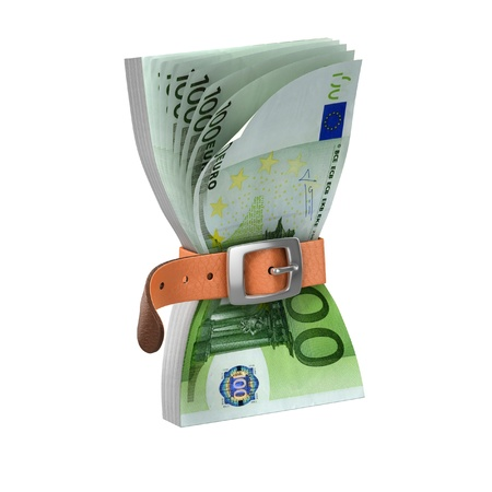 euro notes with tighten belt - european financial crisis 3d concept