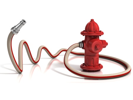 fire plug: fire hydrant with fire hose 3d illustration