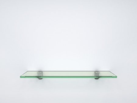 bookshelves: empty glass shelf Stock Photo