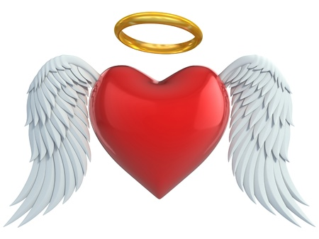 heart wings: angel heart with wings and golden halo 3d illustration