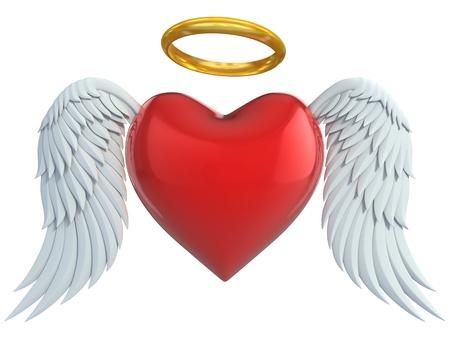 engel tattoo: Engel Herz mit Fl�geln und goldenen Heiligenschein 3d illustration