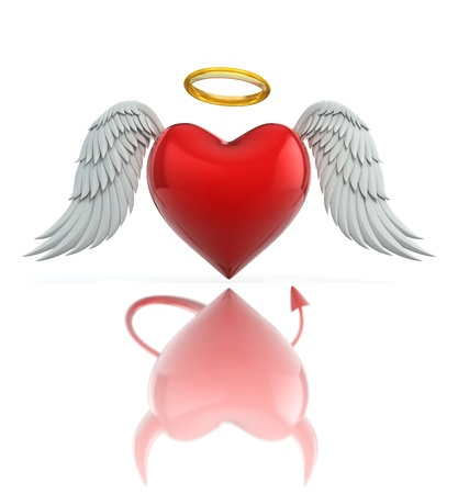 naughty: angel heart seen as a devil heart in reflection - love 3d concept
