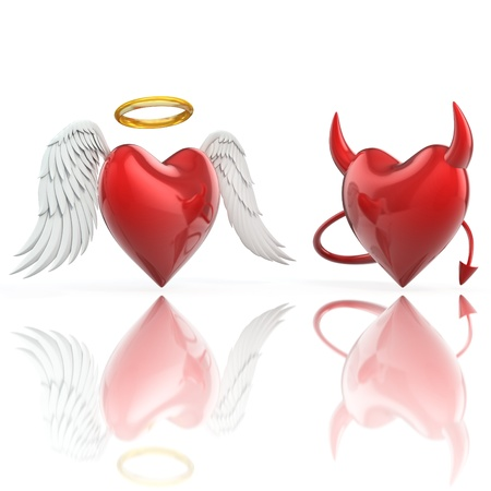 devil cartoon: angel heart and devil heart 3d illustration Stock Photo