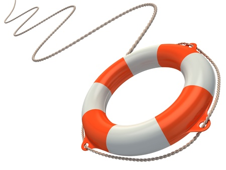 rubber ring: lifebuoy in the air 3d illustration