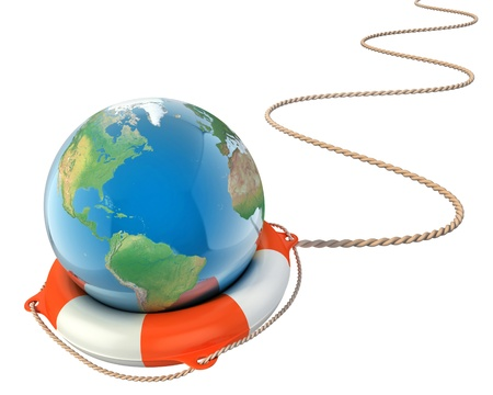 global warming: save the earth 3d concept - globe with lifebuoy isolated