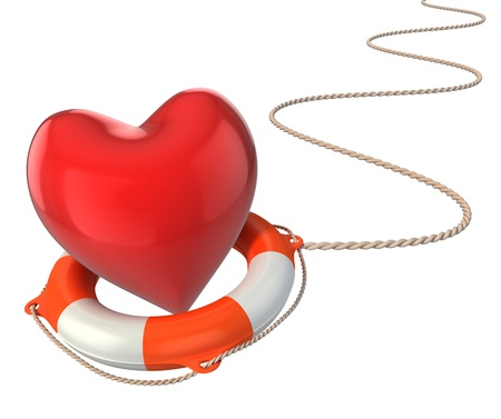 relationship problem: saving love marriage relationship 3d concept - heart on lifebuoy