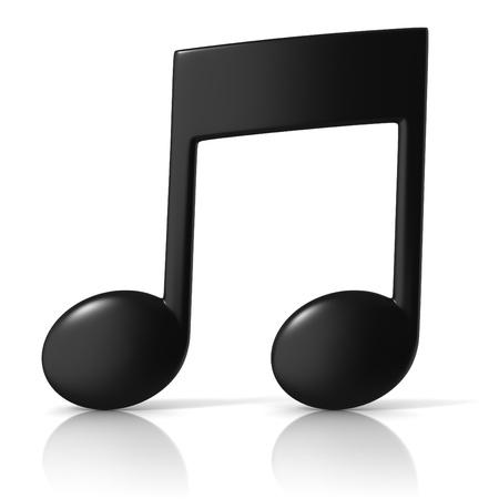 note musicali: icona della musica nota 3d su sfondo bianco Archivio Fotografico