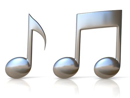 notas musicales: iconos met�licos nota de la m�sica 3d en fondo blanco