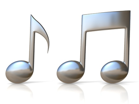 music abstract: metallic music note 3d icons on white background