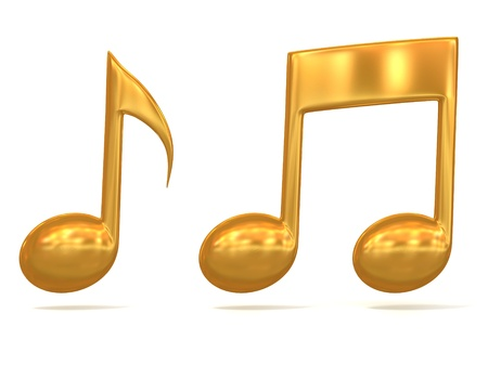 musical notation: golden music note 3d icons on white background