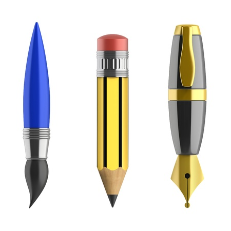 pen pencil paintbrush 3d icons photo