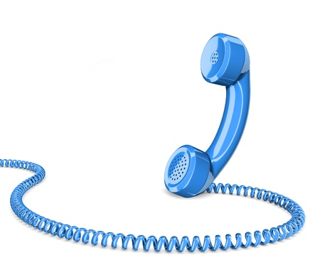 network cable: Telephone handset on white