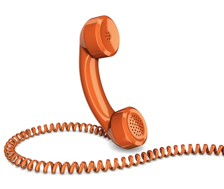 contact information: Telephone handset isolated Stock Photo