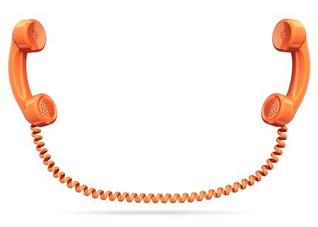 cable telefono: dos terminales telef�nicos conectados - conexi�n contacto conversaci�n concepto 3d Foto de archivo